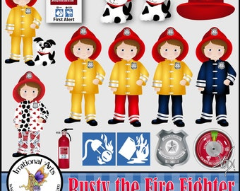 Rusty the Fire Fighter - 15 digital graphics clip art - boys dalmation puppy hat badge fire extinquisher gauge [INSTANT DOWNLOAD]