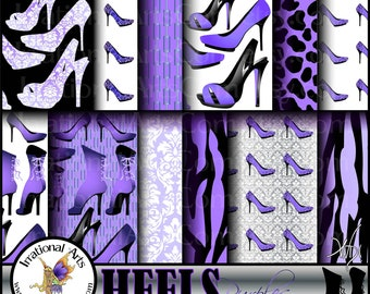INSTANT DOWNLOAD HEELS Purples set 5 digital papers for scrapbooking with Heels Victorian Corset Angelica and Jane pumps, heels and boots
