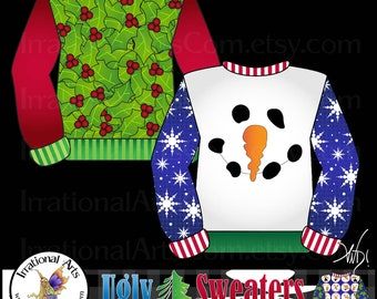 Ugly Christmas Sweaters set 1 - 25 PNG digital graphics 300dpi clear backgrounds rudolph holly snowman elf santa INSTANT DOWNLOAD