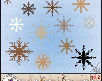 INSTANT DOWNLOaD ELVES Reindeer & Snowflakes set 2 with 12 Png files digital scrapbooking Clip Art Snowflakes