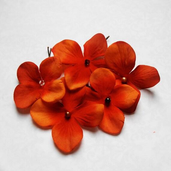 Custom Listing for Claudia -- Red Orange Fall Autumn Wedding Hair Accessories - Set of 7