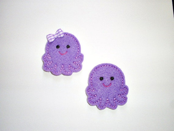 Felt Embroidered Applique -  Purple Octopus-  Machine Embroidered Appliques - Set of 4