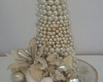 Pearl Tree Vintage Centerpiece Christmas Decoration Winter White Bird
