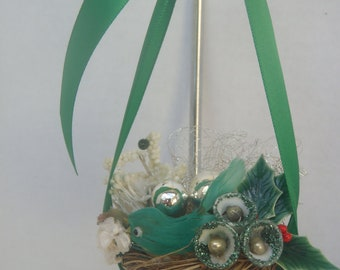 Mini Green Bird in Nest Christmas Ornament