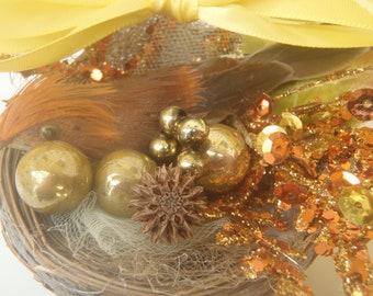 Small Bronze Bird in Nest Christmas Ornament