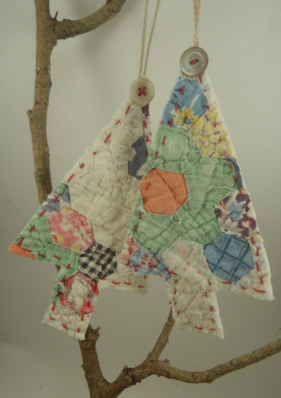Vintage quilt ornaments upcycled christmas tree hanging for What to do with old christmas ornaments