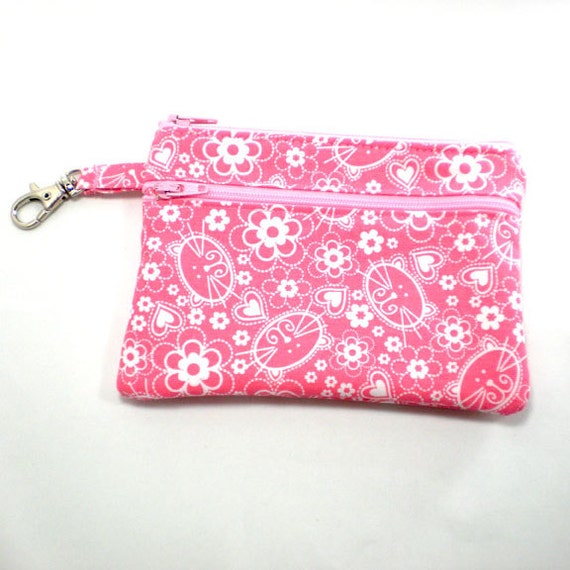 Larger Zippered Wallet Change Purse Gadget Case  Pink Cat Faces