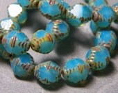 Czech Turquoise Blue Opal with Picasso 9.5x8.5mm Faceted Fire Polished Glass Notched Bi-Cone Beads (15)  0448-P