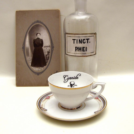 Gothic Poison tea cup and saucer Vintage altered plate Chase and Scout Cyanide