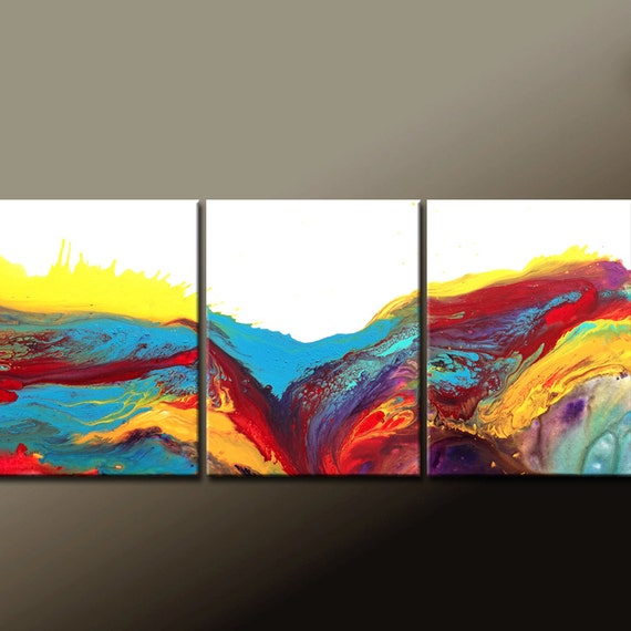 Abstract Canvas Art Painting 54x24 3pc Original Contemporary Paintings by Destiny Womack - dWo - In The River of Dreams
