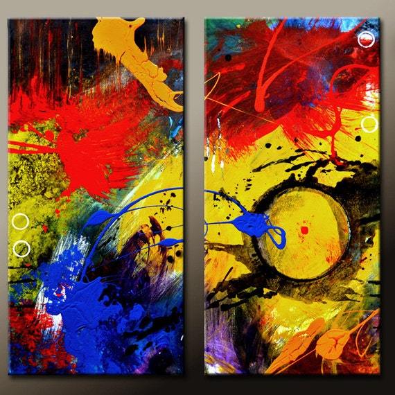 2pc Abstract Art Painting Original Contemporary Art on Canvas by Destiny Womack  - dWo - Trials XVI