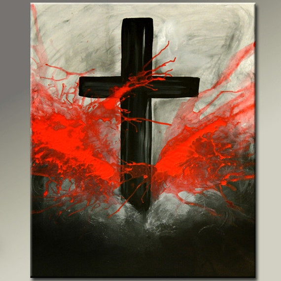 Custom abstract canvas art painting made to order by wostudios for Cross paintings on canvas