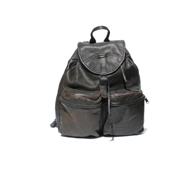 Black Leather Front Pocket Backpack