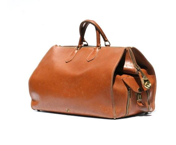 Vintage British Tan rugged Leather Duffel Bag