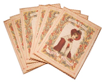Jane Austen Christmas Note Card, Christmas Card, Regency Jane Austen Style, Jane Austen Set of Christmas Cards,