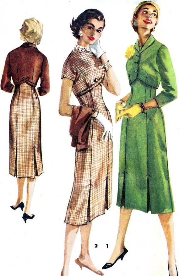 Vintage Sewing Pattern 1950s Simplicity 1525 Empire Waist Sheath Dress with Cropped Bolero Size 18 Bust 36