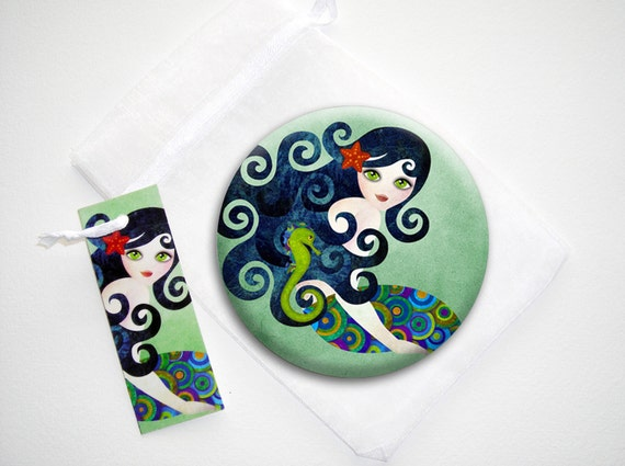 Aquamarine Mermaid Series 3.5 inches Pinback Button