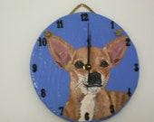 Tan Chihuahua Battery Operated Clock