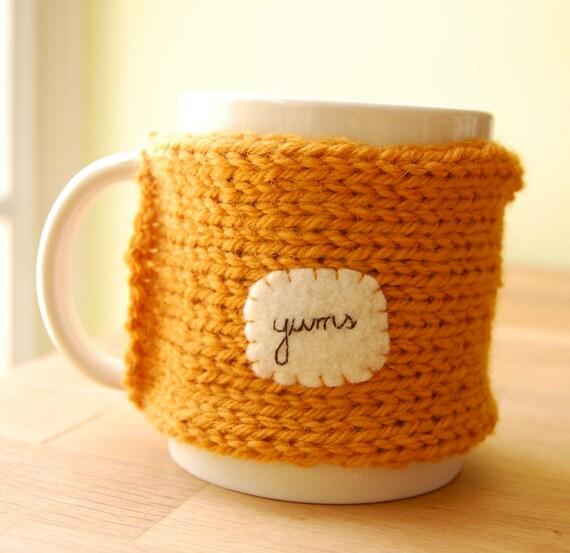 Yums Coffee Mug Cozy in Pumpkin Orange Knitted Tea Cup Cosy