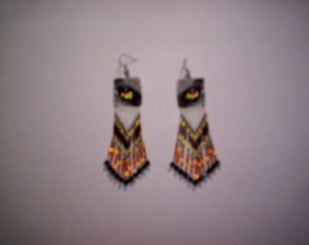 Brick Stitch Wolf Eyes Seed Beading PDF E-File Fringe Earring Pattern-283