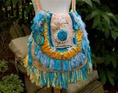 Boho Gypsy Handbag, Hippie Purse, Tote, Bohemian Chic Style, Nomad Bag, Slouch Bag, SWAROVSKI CRYSTALS, Blue & Gold