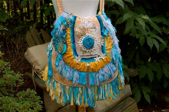 Boho Gypsy Handbag, Hippie Purse, Tote, Bohemian Chic Style, Nomad Bag, Slouch Bag, SWAROVSKI CRYSTALS, Blue & Gold