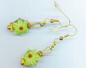 Light Green Poinsettia . Glass Flowers . Lampwork Beads . Green and Red . Festive Holidays -  Christmas Holidays by enchantedbeas on Etsy