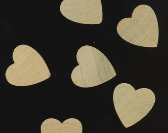 Wood Heart Flat Cabochons for your Crafts . Unfinished Hardwood for Crafts. 30 mm. Lot of 9 Wooden Hearts - DESTASH by enchantedbeas on Etsy