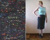 Sexy Secretary Black Pencil Skirt with Rainbow Threads Throughout