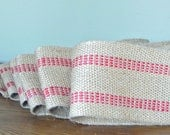 3 yards burlap red striped ribbon trim with red edges jute - French Country wreath garland free shipping