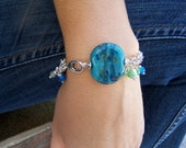 40% OFF ON SALE Boro Glass Tab Bead and Sterling Silver Bracelet