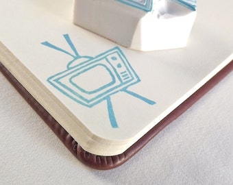 mod television - hand carved stamp