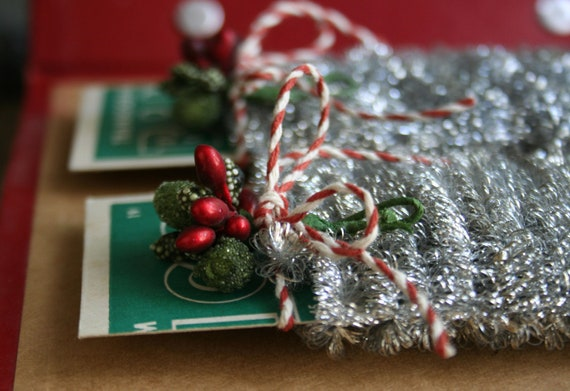 Tiny wired spiral silver tinsel garland for decorating and