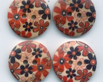 Flower Buttons Decorated Wooden Buttons 23mm (1 inch) Set of 4 /BT25