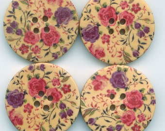 Rose Chintz Buttons Decorated Floral Wooden Buttons 30mm (1 1/4 inch) Set of 8 /BT38