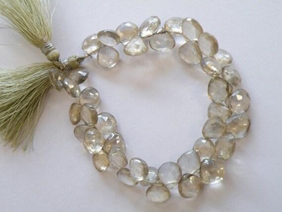 Green Quartz Gemstone Briolette AAA Mystic Faceted Heart Tear Drop Briolette 8.5 to 9mm 18 beads