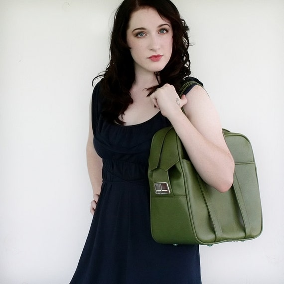 VINTAGE Olive GreenTOTE Bag Pick Your Poison LUGGAGE