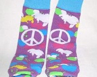 Purple Peace Symbol Baby Leg Warmers, Infant Size, Retro Print, Ready to Ship