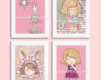 Childrens wall art, baby girl nursery decor, nursery art, ballerina art, kids wall art, astronaut art, Set, 4 prints