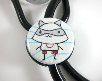 Stethoscope ID Tag Clip Charm - Doodle Raccoon
