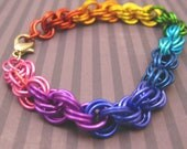 Rainbow Double Spiral Chainmaille Bracelet