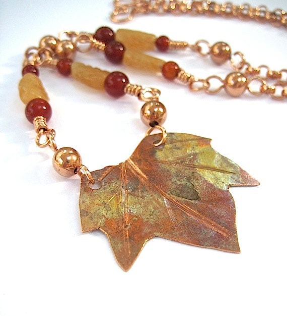 Maple Leaf Rustic Pendant Necklace Orange Aventurine Leaves Red Carnelian Copper Chain