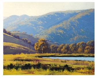 LARGE LANDSCAPE PAINTING afternoon sunlight lithgow Australian Listed Artist by Graham Gercken