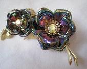 Vintage Brooch - Iridescent Flower - Rhinestone Accents