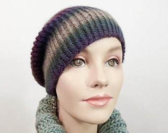 Hand Knit Hat - Slouchy Cloche in Jewelbox Colors Size Sm/Med - Item 1250