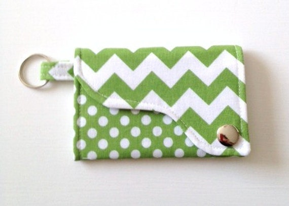 Chevron and Dot Key chain /Credit Card / Business Card Wallet  in Green