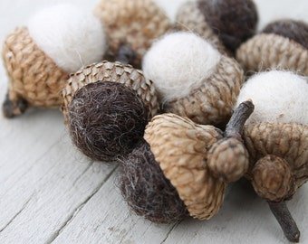 Wool Felted Acorns in Winter White & Brown Home Decor Neutral Eco Friendly