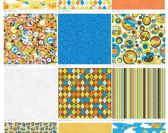 Toddler Rag Quilt, Baby Quilt, Boy Blanket, Crib Bedding, On The Go, Cars, Planes, Fun, Blue, Yellow