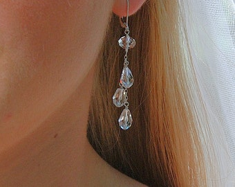 Long Crystal Earring, Bridal Earring, Clear Swarovski Teardrop Crystals, Sterling Silver, Dangle Crystal Earring, Sparkling Dewdrops Earring