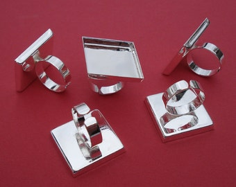 6 Silver Plated Adjustable Ring with 5mm Plain Band and 25mm Square Setting with 4mm Side Walls